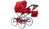 Dětský Retro kočárek pro panenky 2v1 New Baby Magdalena červený s puntíky